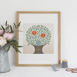 Tiny Happy Family Tree Personalised Print - new lines added