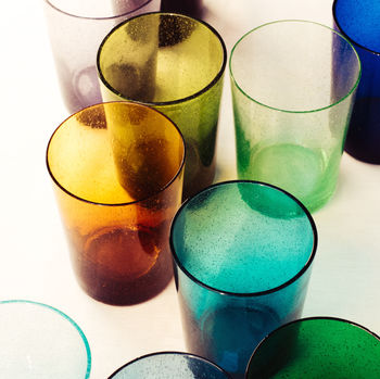 Recycled Handmade Bubble Glass Tumblers