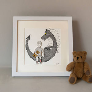Personalised 'Me And My Dragon' Children's Portrait - children's pictures & paintings