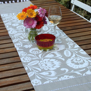 Folk Floral Embellished Table Runner