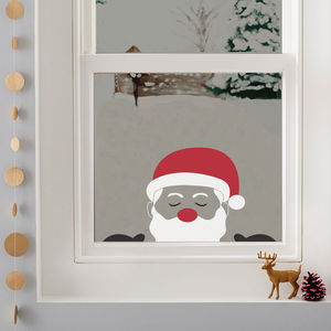 Peeping Santa Window Sticker - christmas wall stickers