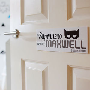 Personalised Superhero Door Sign Plaque - children's room accessories