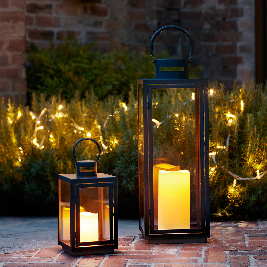 Elegant Malvern Outdoor Battery Candle Lantern Set