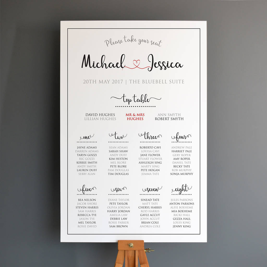 Personalised Wedding Seating Plan Mounted Onto Board