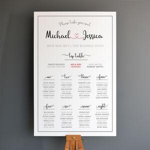 Personalised Wedding Seating Plan - table plans