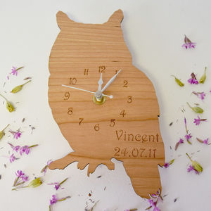 Personalised Woodland Owl Clock - clocks