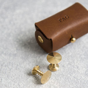 Denzil Bronze Cufflinks With Personalised Pouch - gifts for him