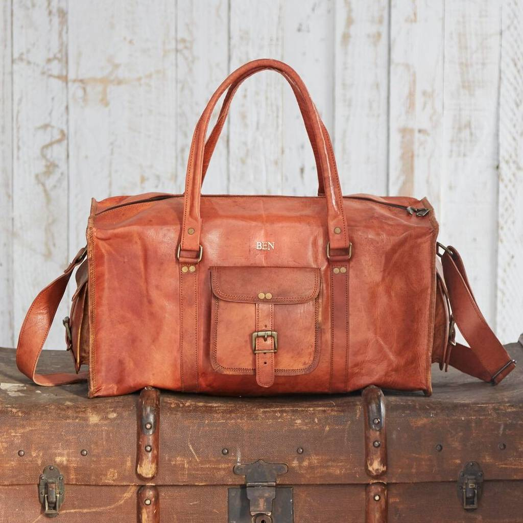 13c296e296 personalised large brown leather holdall by paper high ...
