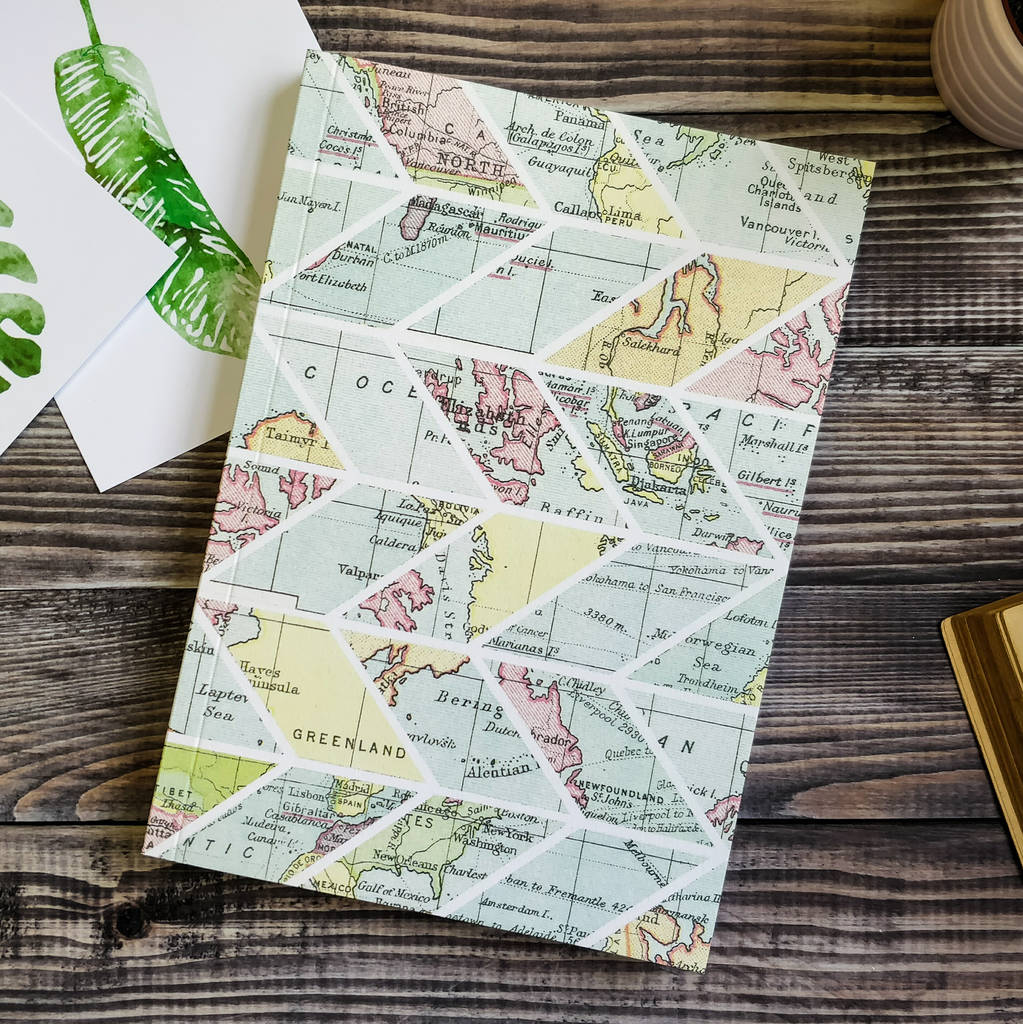 Vintage map inspired travel journal by bookishly vintage map inspired travel journal gumiabroncs Images