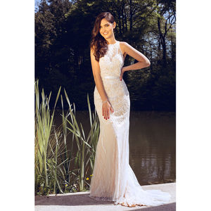 Bridal Telutci Ivory Long Dress - wedding dresses