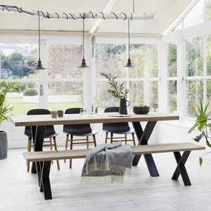 Oak Dining Table With Black Steel X Frame - dining tables