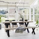 Oak Dining Table With Black Steel X Frame