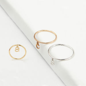 14ct Gold Personalised Initial Letter Dangle Ring
