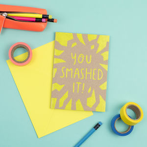 Neon Smashed It Card - new job cards