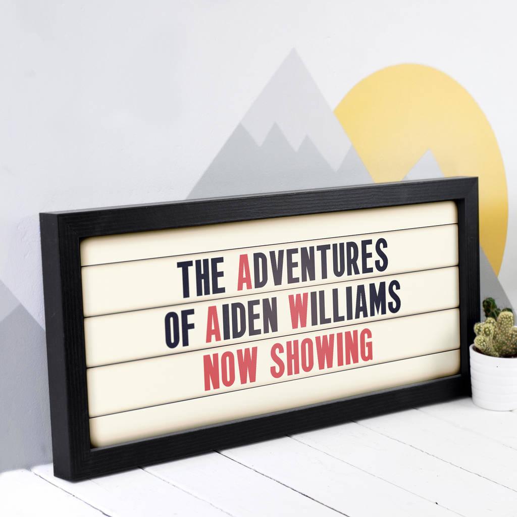 Personalised Adventures Child's Cinema Sign Print