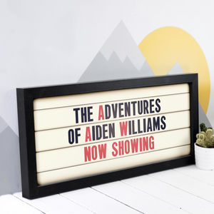 Personalised Adventures Child's Cinema Sign Print - film & tv
