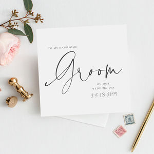 Modern Text 'To My Groom On Our Wedding Day' Card