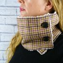 Pink Yorkshire Plaid Tweed Neckwarmer Scarf