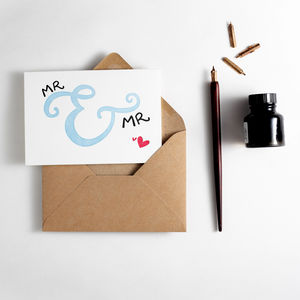 'Mr And Mr' Letterpress Wedding Card