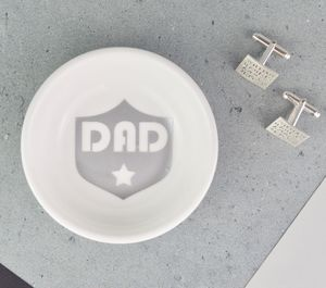 Personalised Mens Badge Jewellery And Cufflinks Dish