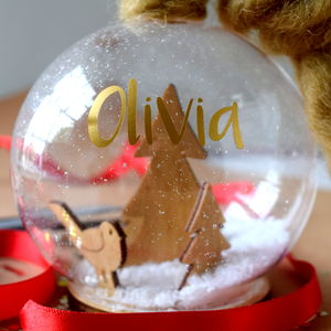 Personalised Rope Hanger Snow Globe Bauble