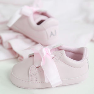 Girls Pink Ribbon Trainers - babies' socks & booties