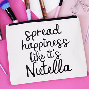 'Spread Happiness Like It's Nutella' Makeup Bag - new in health & beauty