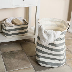 Nautical Striped Storage Basket Selection - storage