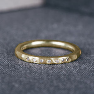 9ct Yellow Gold Hammered Wedding Ring With Diamonds