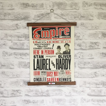 Retro Laurel And Hardy Print With Oak Hanger