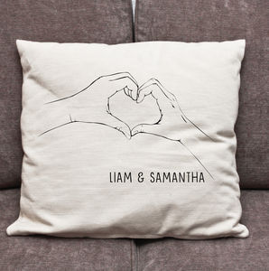 Personalised Heart Hands Cushion Cover - cushions