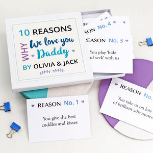 Personalised Reasons I Love Dad Notes - best father's day cards
