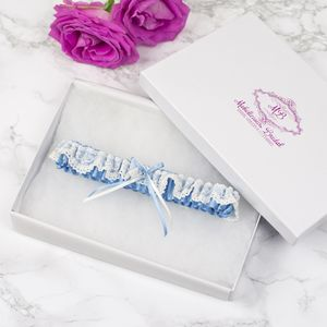 'Iris' Elasticated Blue Bridal Garter - wedding fashion