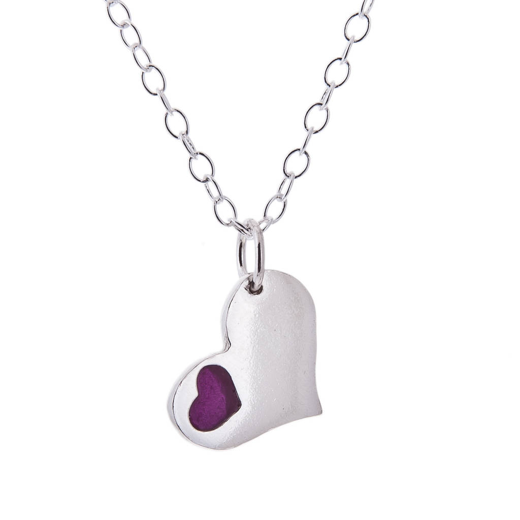Heart In Heart Silver And Resin Pendant