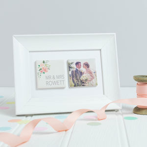 Personalised 'Mr And Mrs' Floral Wedding Clay Tiles - photography & portraits