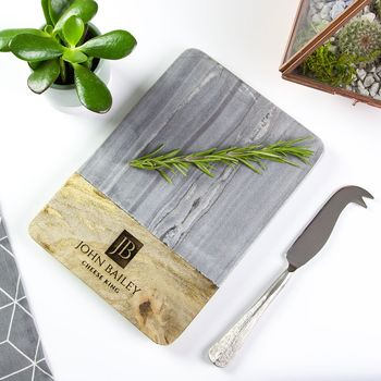 Personalised Marble And Wood Serving Board