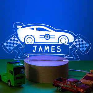 Personalised Racing Car Childrens Bed Time Night Lamp - children's room accessories