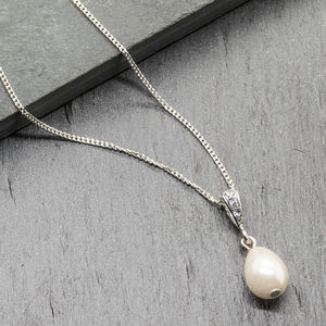 Bridal Teardrop Ivory Pearl Sterling Silver Necklace - necklaces & pendants