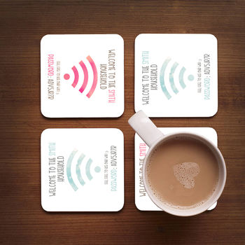 Personalised Family Wifi Coasters Set Of Four