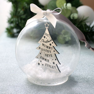 Metallic Family Christmas Tree Bauble - personalised