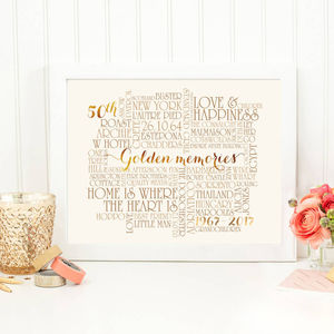 Personalised Golden 50th Wedding Anniversary Print - 50th anniversary: gold