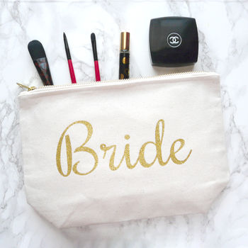 Personalised Bride Gold Glitter And Canvas Make Up Bag