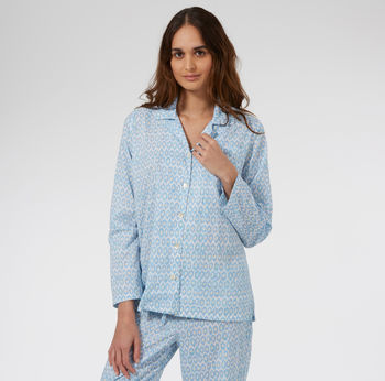 Cotton Pyjamas In Blue Hexagon Print