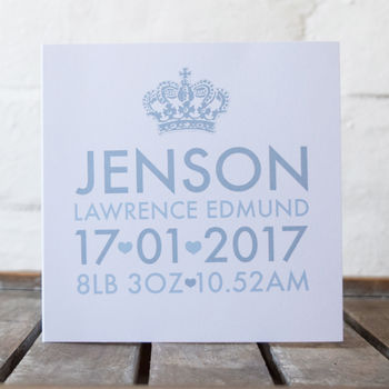 Personalised New Baby Birth Card