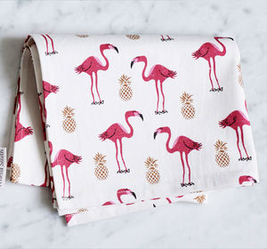 Illustrated Flamingo And Pineapple Tea Towel