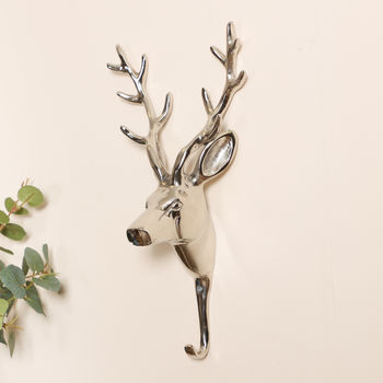 Brushed Nickel Wall Mounted Stag Hook