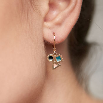 Tiny Geometric Gold Earrings