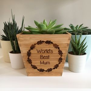 Personalised Bamboo Plant Pot