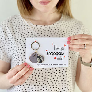 Sloth Love Card With Keyring - valentine's cards for him