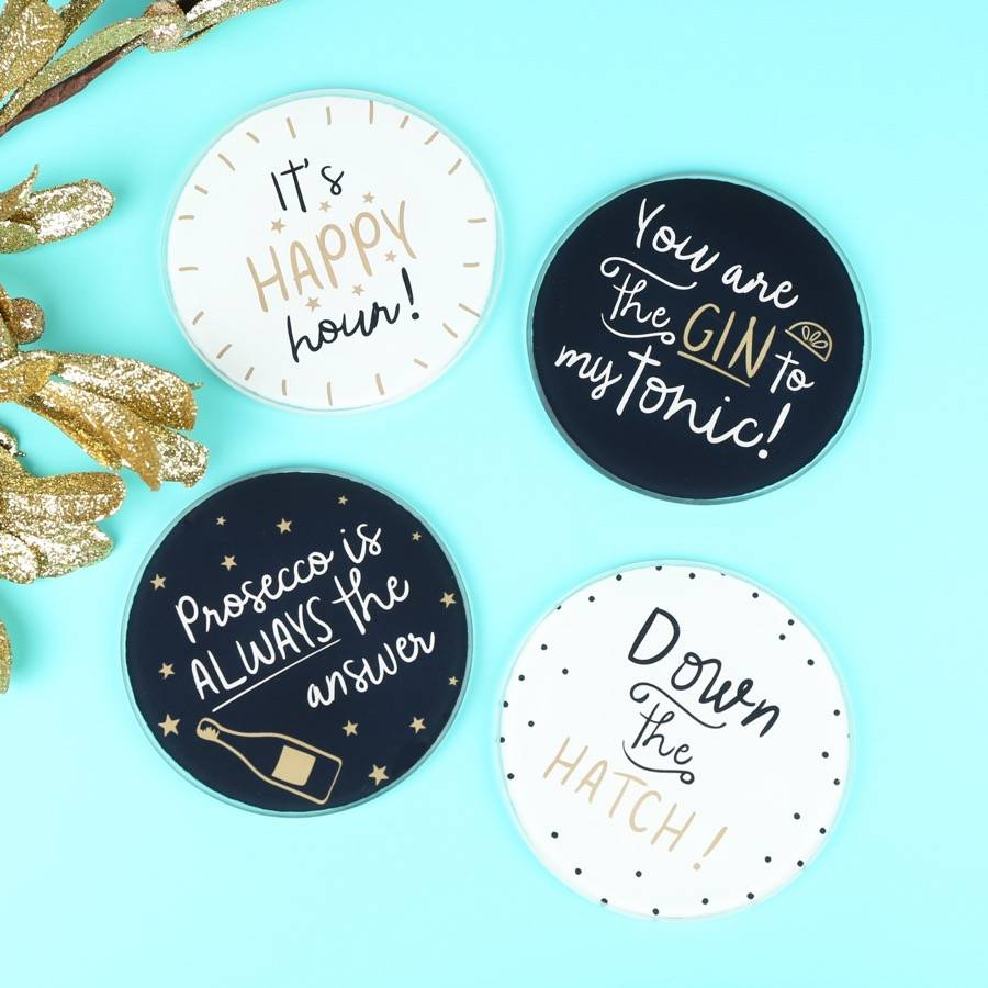 Set Of Four Alcohol Quote Coasters By Lisa Angel